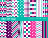 Instant Download - Digital Paper Pack 333 Purple, Pink and Teal Patterned Paper