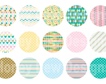 Instant Download - Digital Collage Sheet - 1inch circles - 022