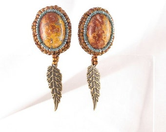 Earrings Leopard jasper bead embroidered with feather dangle