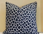 Accent Pillow, Navy Blue Leopard print pillow cover, Reversible pillow cover with same fabric on both sides