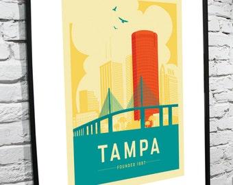 Tampa, Florida Skyline 8x10 Poster