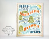 8x10 art print - Mighty To Save - Aged & Worn, Vintage Colors Typography Poster Print - Zephaniah Scripture Bible Verse