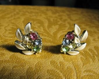 Lisner Earrings Jewelry, Clip On - Vintage White Leaf -Pastel Rhinestone Earrings