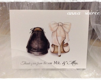WEDDING SHOE Thank You Card - Personalized with Name, Thank you or just the design! Couple's Shower, Wedding, Engagement