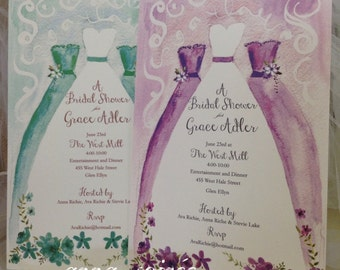 BRIDAL SHOWER INVITATIONS  - Bridal Shower Invites Personalized with Bride and Bridesmaid Dress artwork in green or purple