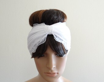 White Headband. White Head Wrap