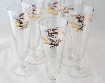 Lifetime China Prairie Gold Pilsner Glasses Vintage 1950s Set of 6 Gorgeous