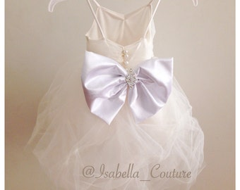 Flower girl dress lace dress girls lace dress big bow for How to ship a wedding dress usps
