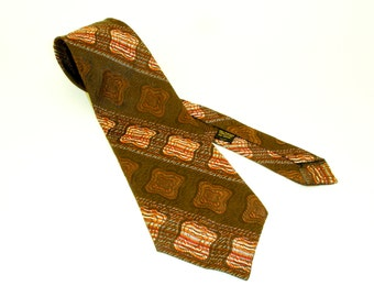 1970s Wide Brown Abstract Tie Mens Vintage Disco Era Textured Woven Acetate & Rayon Wide Necktie with Abstract Designs