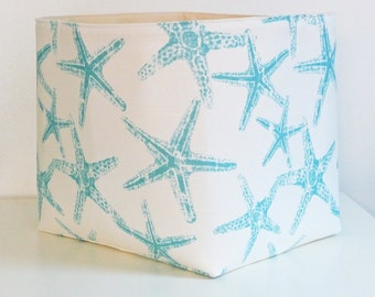 Extra Large Storage Basket Fabric Organizer in Sea Friends Slub Coastal Blue with Natural Canvas liner - Your Choice of Size