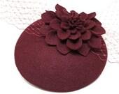 Burgundy Felt Hat - Dahlia Flower Hat, Wine Cocktail Hat, Merlot Fascinator, Dahlia, Womens Hat, Wedding Hat