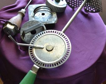 Vintage Kitchen Utensils - Wooden Handle Duplex Cream Whipper, Three Cookie Cutters, Ice Pick