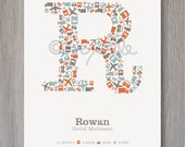Personalized Childrens Letter / Initial Monogram Print including Planes, Buses, Trucks and Cars for Child Bedroom or Baby Boy Nursery