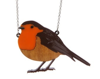 Robin necklace - laser cut acrylic