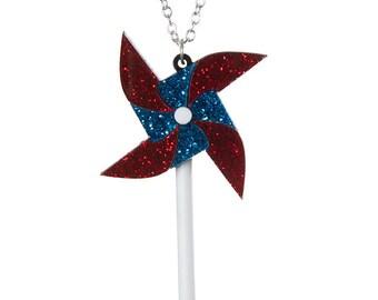 Pinwheel necklace - laser cut acrylic