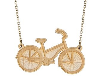 Bicycle necklace - laser cut wood
