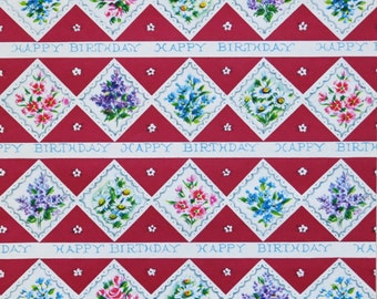 Vintage Dennison Gift Wrap - Wrapping Paper - HAPPY BIRTHDAY -  Floral Diamond Pattern - 1950s