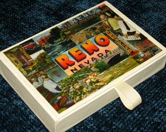 RENO NV travel postcard decoupage cigar box