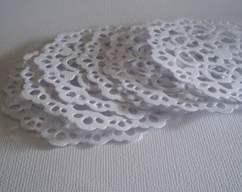 White Die Cut Cardstock Doilies  Set of 6