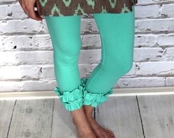 Mint Green or Aqua blue Ruffled Capri Leggings from GreenStyle