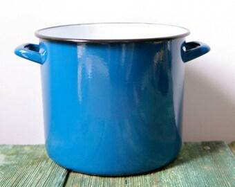 Italian blue vintage enamelware saucepan