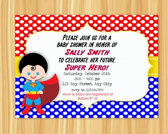 High Quality Superman Invitation | Superman Baby Shower Invitation | Superman Baby Shower  | Superman Party | Superhero