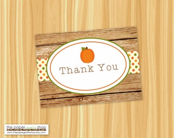 Pumpkin Thank You Card | Rustic Fall Thank You Note Card | Pumpkin Party Thank You Card | Printable | Instant Download