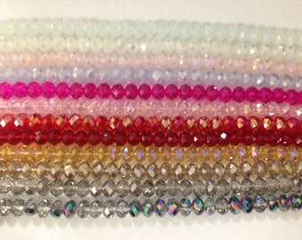 12x8mm rondelle ,faceted, chinese crystal glass, 30 beads