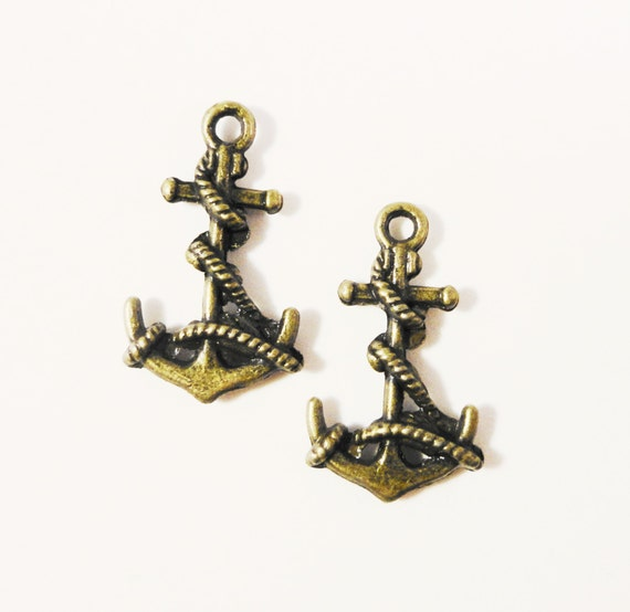 Bronze Anchor Charms 19x10mm Antique Brass Tone Metal (Bronze) Ship Anchor Nautical Charms Anchor Pendants Jewelry Making Findings 10pcs