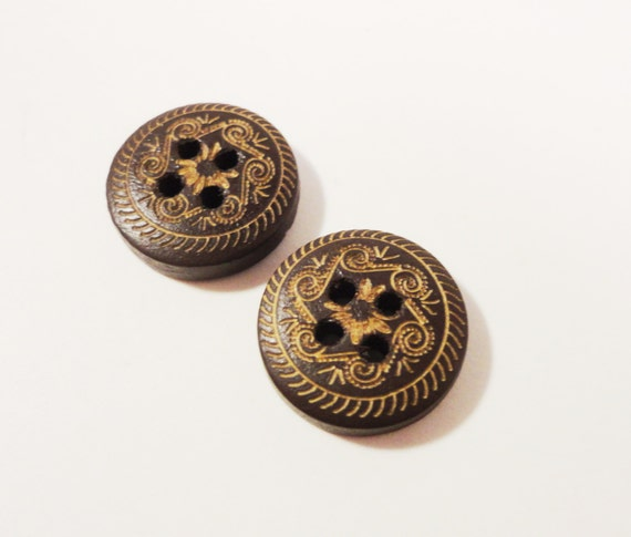 Brown Wooden Buttons 14mm Round Dark Chocolate Brown Painted Carved Scrollwork Pattern Wood Buttons for Sewing, Crafts and Jewelry 10pcs