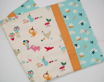Organic Baby Blanket, Receiving Blanket Receiving Blanket, Stroller Blanket, Animal Blanket, Flannel, Organic, Birds, Clouds, Elephants