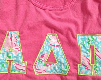 lilly pulitzer sorority letters shirt jersey block short sleeve long sleeve or tank