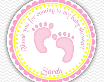 Baby Feet Pink - Personalized Stickers, Party Favor Tags, Thank You Tags, Gift Tags, Address labels, Baby Shower