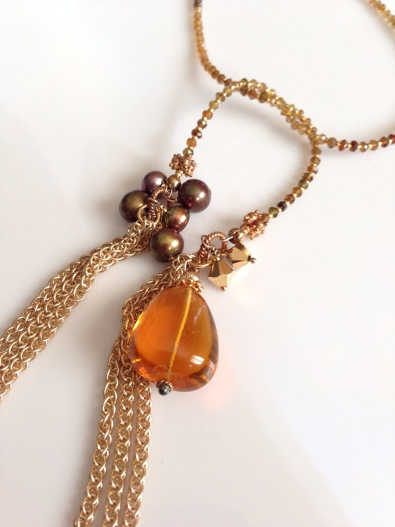 Topaz Tourmaline Pearls and Gold Lariat Necklace