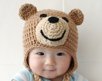 Ted Bear Hat, Teddy Bear hat, Crochet Baby Hat, Bear Baby Hat, Animal Hat, brown, photo prop