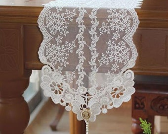 Wedding Tablecloth Table Topper Table Doily Runner,Embroidery&Lace 17x180cm