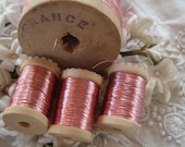 10y Antique French Early Flat Pink Metal Metallic Embroidery Thread Floss Restoration Ribbonwork Needlework