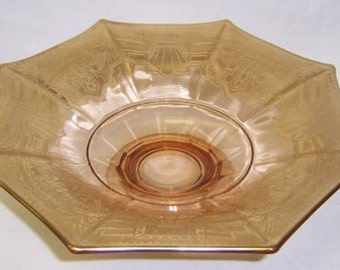 McKee Amber with Gold Decoration Eight 8 Sided Flared Footed Elegant Glass Center Piece COMPORT