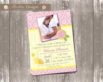 Pink Lemonade Bridal Shower Invite (Photo, Pink Damask) DIGITAL FILE