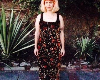 Vintage handmade 60s velvet floral dress S/M
