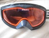 Briko Ski Snowboarding Goggles Black with Red tinted lenses vintage 1980's
