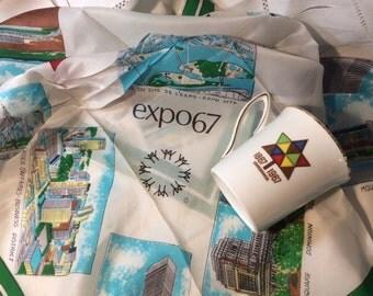 Vintage Montreal Expo 67 Souvenir Scarf and Canadian Centennial Mug, Canadian Confederation Centennial, Bright and Colourful, 1960s