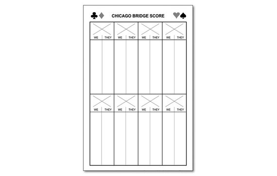Chicago Bridge Score Pad 5.5 X 8.5 50-Sheets