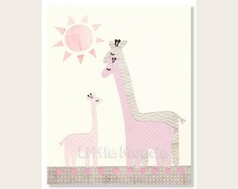 Baby Girl Nursery Prints,  Nursery Wall Decor, Pink And Grey Nursery, Giraffe Prints, Pastel, Pale, Zoo, Animals, Family