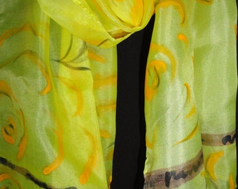"Hand painted silk skarf 48"" x 11"" Bright Yellow with a brown and black accent beautiful neck skarf.Lightweight and soft."