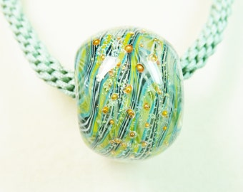 Kumihimo Necklace with Lampwork Bead, Sage Green Kumihimo Necklace, Lampwork Bead Necklace