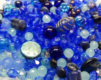 Blue Bead Mix, Faceted Bead Mix, Assorted Blue Beads