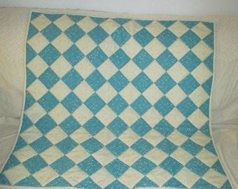 Aqua and Cream Baby Quilt