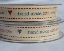 Berisford 15mm cream woven ribbon with 'hand made' message - label handmade items,gift wrap ribbon