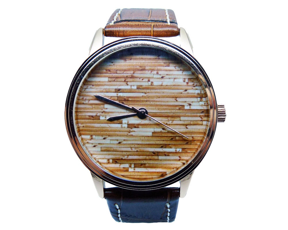 Mens Wood Watch Brown Genuine Leather